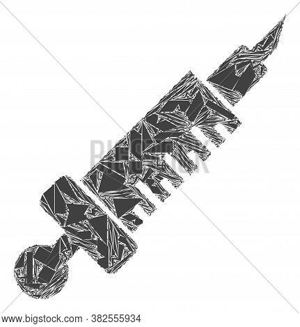 Fragment Mosaic Medical Injection Icon. Medical Injection Mosaic Icon Of Detritus Items Which Have V