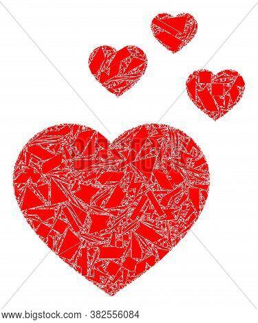 Debris Mosaic Favorite Hearts Icon. Favorite Hearts Collage Icon Of Debris Items Which Have Differen