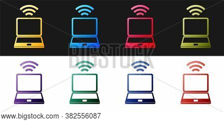 Set Laptop And Free Wi-fi Wireless Connection Icon Isolated On Black And White Background. Wireless