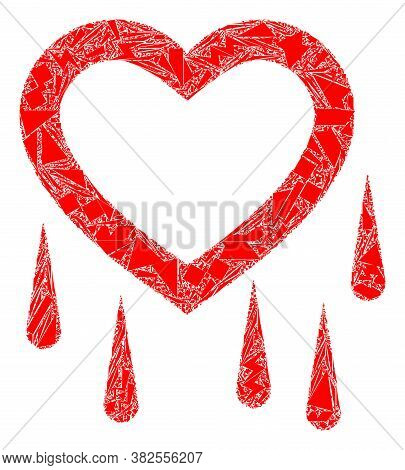 Debris Mosaic Crying Heart Icon. Crying Heart Mosaic Icon Of Debris Elements Which Have Variable Siz