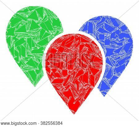 Shatter Mosaic Map Pointer Group Icon. Map Pointer Group Mosaic Icon Of Shatter Elements Which Have