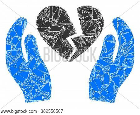 Debris Mosaic Broken Heart Care Palms Icon. Broken Heart Care Palms Collage Icon Of Debris Elements