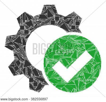 Debris Mosaic Apply Settings Gear Icon. Apply Settings Gear Collage Icon Of Debris Elements Which Ha