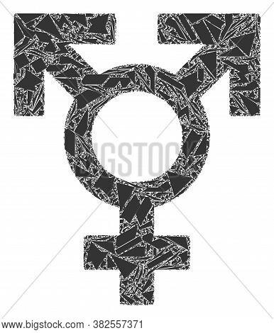 Debris Mosaic Polyandry Sex Symbol Icon. Polyandry Sex Symbol Collage Icon Of Debris Elements Which