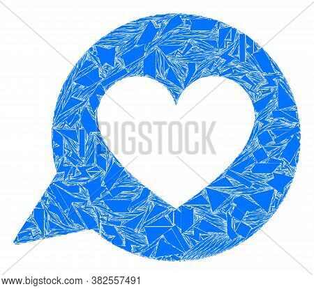 Shard Mosaic Love Heart Message Icon. Love Heart Message Mosaic Icon Of Fraction Elements Which Have
