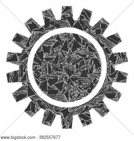 Shard Mosaic Cogwheel Icon. Cogwheel Mosaic Icon Of Shard Items Which Have Randomized Sizes, And Pos