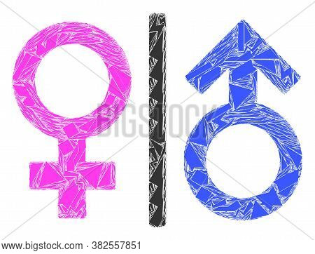 Shatter Mosaic Toilet Gender Symbol Icon. Toilet Gender Symbol Mosaic Icon Of Shatter Elements Which