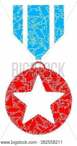 Shatter Mosaic Star Medal Icon. Star Medal Mosaic Icon Of Shatter Items Which Have Variable Sizes, A