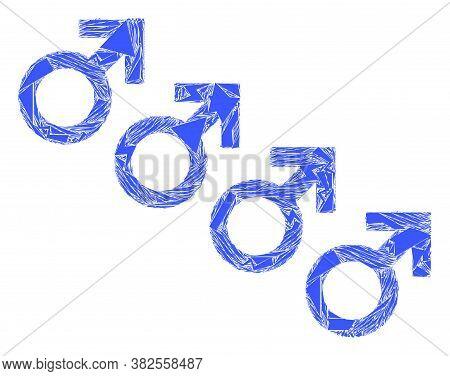 Fraction Mosaic Male Cohort Symbol Icon. Male Cohort Symbol Mosaic Icon Of Fraction Items Which Have