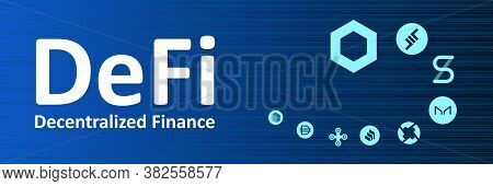 Defi - Decentralized Finance And Altcoins In Spiral On Narrow Banner. Logos Of The Main Coins Of The