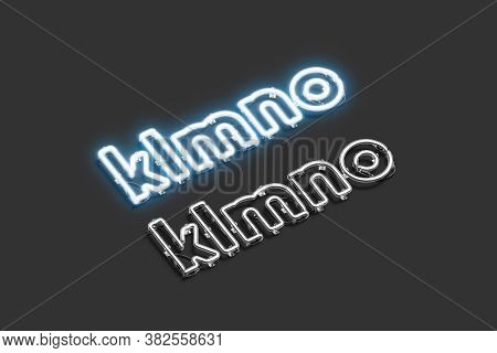Decorative K L M N O Letters, Neon Font Mockup, 3d Rendering. Blue And White Lighting Charset For Cl
