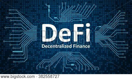 Defi - decentralized finance, white text on blue background with printed circuit board.An ecosystem of financial applications and services based on public blockchains.  Vector EPS 10.
