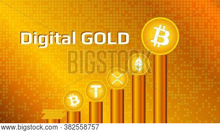 Cryptocurrency Coins On Pedestals Of Gold On A Gold Background. Digital Gold Bitcoin And Altcoins Ar