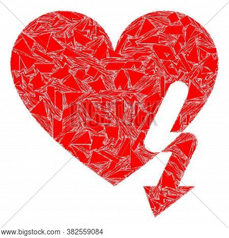 Shatter Mosaic Love Heart Strike Icon. Love Heart Strike Mosaic Icon Of Shatter Elements Which Have