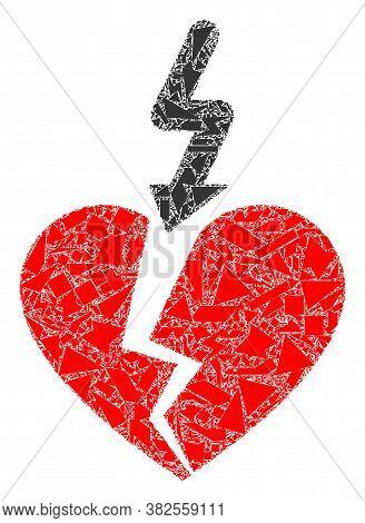 Debris Mosaic Break Love Heart Icon. Break Love Heart Collage Icon Of Debris Elements Which Have Dif