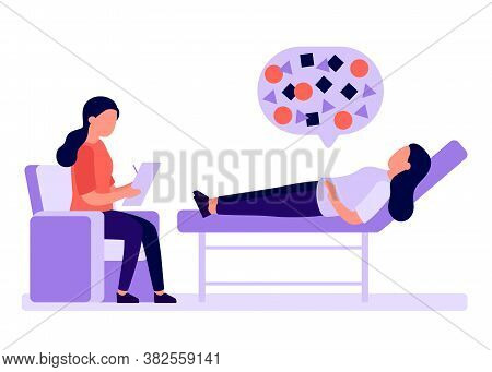 Psychological Counseling Of People, Psychoanalysis. Client Lies On Couch, Psychologist Analyzes. Ser