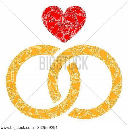 Debris Mosaic Romantic Rings Icon. Romantic Rings Mosaic Icon Of Debris Elements Which Have Differen