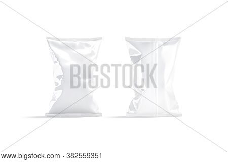 Blank White Foil Big Chips Pack Mockup, Front Back View, 3d Rendering. Empty Polythene Package For P