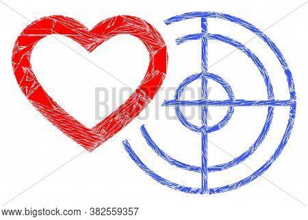 Shards Mosaic Romantic Heart Target Icon. Romantic Heart Target Collage Icon Of Shards Elements Whic