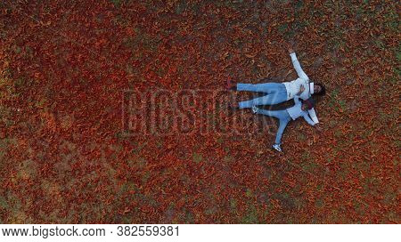 mother and son lying on red leaves in a park