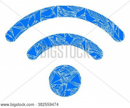 Detritus Mosaic Wi-fi Source Icon. Wi-fi Source Mosaic Icon Of Detritus Elements Which Have Variable