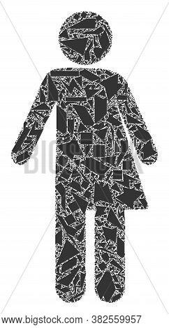Debris Mosaic Third Gender Icon. Third Gender Mosaic Icon Of Debris Items Which Have Randomized Size