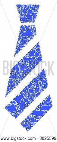 Shatter Mosaic Striped Tie Icon. Striped Tie Mosaic Icon Of Spall Items Which Have Various Sizes, An