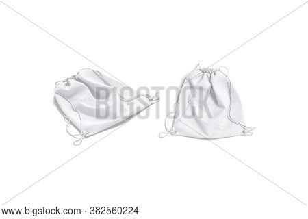 Blank White Drawstring Backpack Mockup Lying, Top And Side View, 3d Rendering. Empty Cotton Or Linen