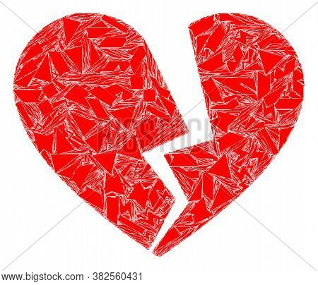 Debris Mosaic Broken Love Heart Icon. Broken Love Heart Mosaic Icon Of Fragment Elements Which Have