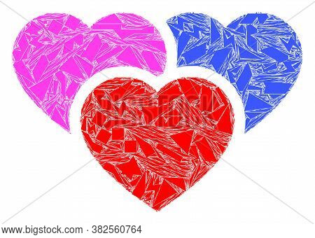 Fragment Mosaic Love Hearts Icon. Love Hearts Mosaic Icon Of Shatter Items Which Have Various Sizes,