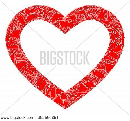 Debris Mosaic Romantic Heart Icon. Romantic Heart Mosaic Icon Of Fragment Elements Which Have Variab