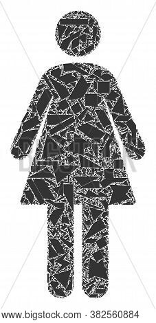 Shard Mosaic Woman Icon. Woman Collage Icon Of Shard Items Which Have Various Sizes, And Positions,