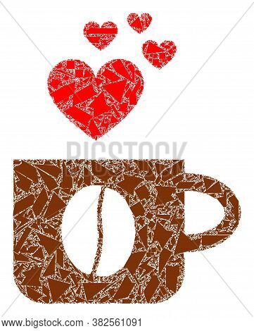 Detritus Mosaic Love Coffee Cup Icon. Love Coffee Cup Collage Icon Of Detritus Elements Which Have V