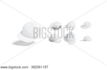 Blank White Jeans Snapback Mock Up, Different Views, 3d Rendering. Empty Accessory Casual Head-dress