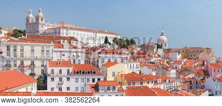 Lisbon, Portugal. Cityscape Of Alfama At Sunny Summer Day