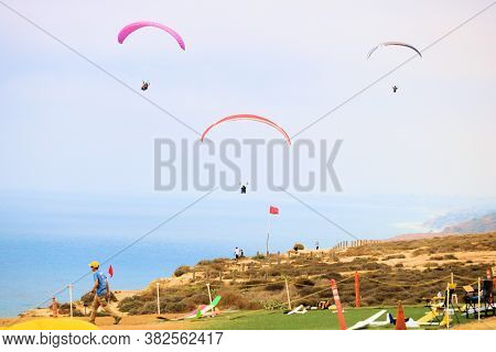 August 24, 2020 In La Jolla, Ca:  Paragliders Gliding Above The Coast Taken At The Torrey Pines Glid