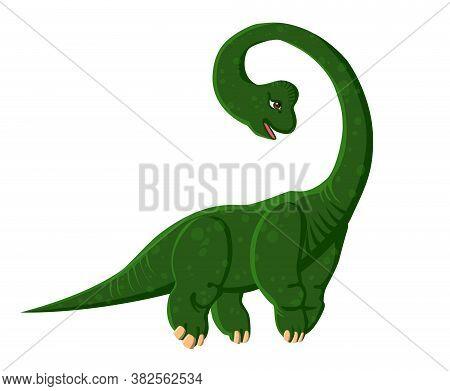 Green Cartoon Brachiosaurus. Dinosaur. Vector Color Isolated Image.
