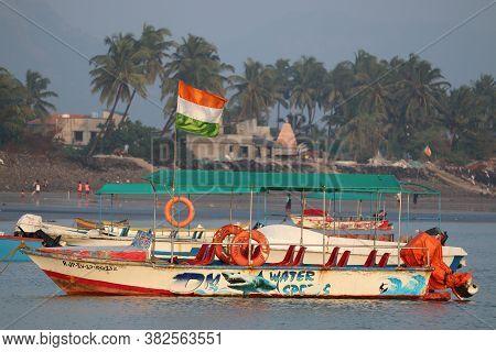 Cochin, Kerala/india- November 17 2019: Wooden Tourist Boat In Indian State Of Kerala. Boating At Su