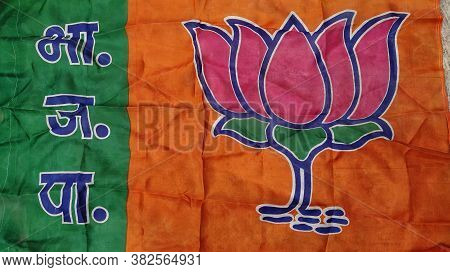 Mumbai, Maharastra/india- October 10 2019: Flag Of Bjp- A Political Party Contesting Election In Ind