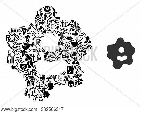 Mosaic Ameba Of Health Care Symbols And Basic Icon. Mosaic Vector Ameba Is Designed Of Medic Symbols