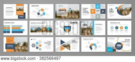 Presentation Slide Layout Background.  Blue And Orange Design Brochure Template. Use In Presentation