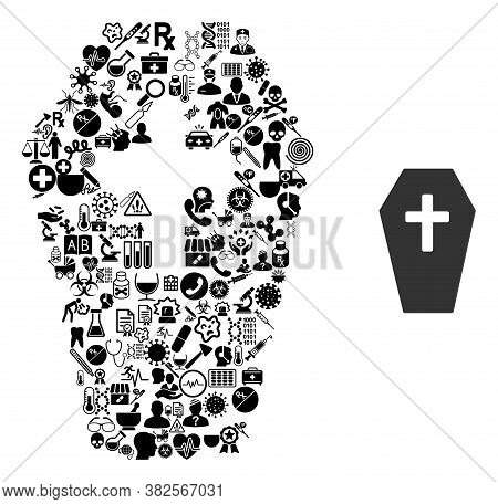 Mosaic Coffin From Health Care Icons And Basic Icon. Mosaic Vector Coffin Is Created From Health Car