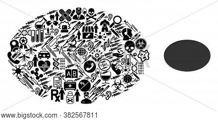 Mosaic Filled Ellipse Of Health Care Symbols And Basic Icon. Mosaic Vector Filled Ellipse Is Created