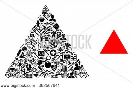 Mosaic Filled Triangle Of Medic Symbols And Basic Icon. Mosaic Vector Filled Triangle Is Created Of