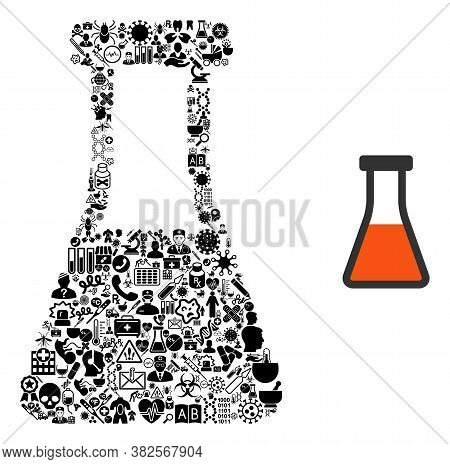 Mosaic Flask Of Medical Items And Basic Icon. Mosaic Vector Flask Is Composed Of Health Care Items.
