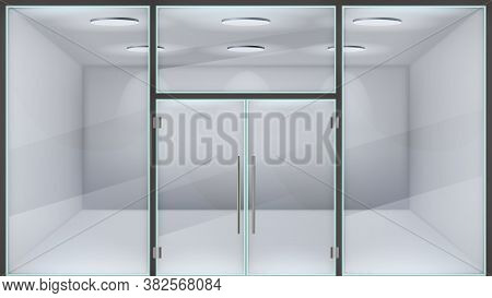 Realistic Store Door. Glass Double Office Entrance, Front Exterior Mall Doors, Modern Metal Frame Re