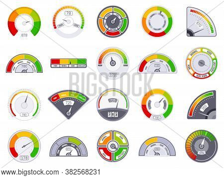 Speedometer Score Level. Good And Low Rating Indication, Goods Speedometer Level, Satisfaction Score
