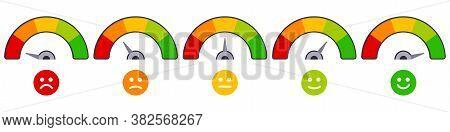 Rate Scale Level. Mood Rating Indicators, Satisfaction Score Graph Ratings, Emoji Barometer Score Le