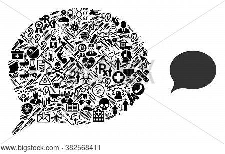 Mosaic Hint With Medicine Symbols And Basic Icon. Mosaic Vector Hint Is Designed With Medicine Icons
