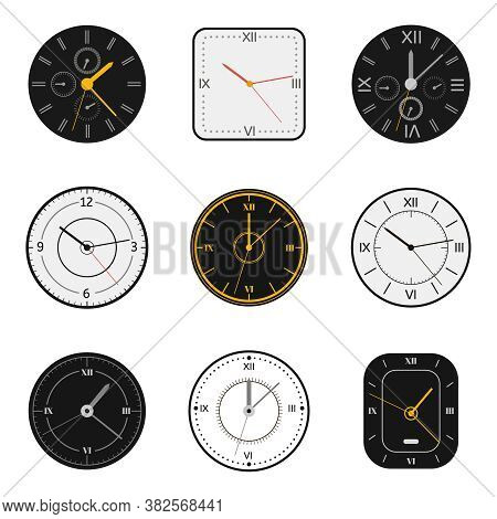 Modern Watch Face. Clock Round Scale Faces, Modern 12 Hours Round Clock, Time Measurement Watch Vect